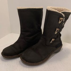 Ugg boots black suede leather women's 7